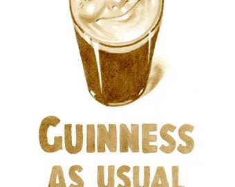 beer art, Vintage Guinness Smiling Pint Poster, painted using only beer,  vintage, poster, smile, stout, pint, pub art