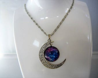 Purple Galaxy Crescent Moon Necklace Torture Couture gothic goth celestial space phases orion stars planets planetary extraterrestrial alien