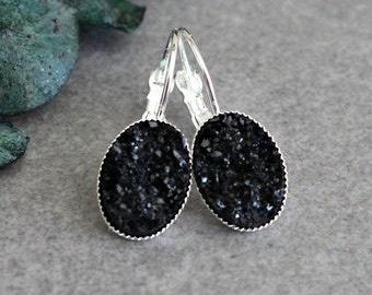 Black Drop Earring, Black Earrings, Black Druzy Earrings, Black Chandelier Earrings, Black Lever Back Earring, Black Dangle Earrings