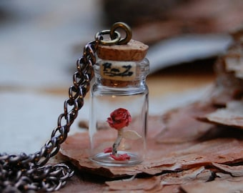 Beauty and the Beast necklace/ paper art necklace/ glass bottle necklace/ rose necklace/ miniature paper art/ handmade necklace.