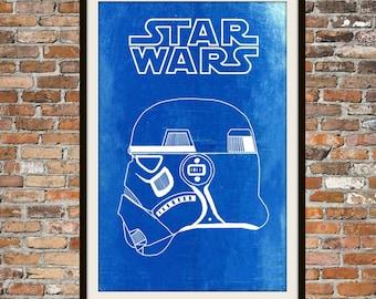 Star Wars Stormtrooper -  Blueprint Art of Stormtrooper Right View Technical Drawings Engineering Drawings Patent Blue Print Art Item 0097