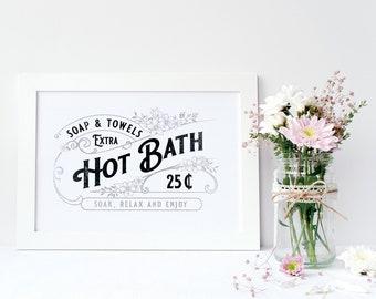 Vintage Bathroom Print, Printable Art, Bathroom Wall Decor, Bathroom Wall  Art, Hot