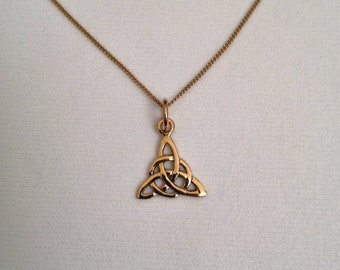 18ct Gold over Sterling Silver Celtic Triangle Pendant Necklace.