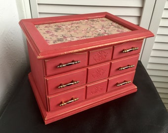 Upcycled Vintage Jewelry Box, Red and Floral Jewelry Box with Drawers, Shabby Chic Jewelry Box, Jewelry Storage