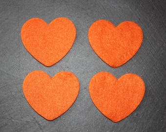 Set of 4 hearts decorate felt orange