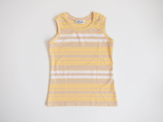Striped 70s Tank Top Yellow White Beige Ribbed Knit Tee Sleeveless Minimal Retro Top Preppy Summer Shirt Womens Small Medium