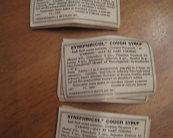 Vintage labels medicine labels Synephricol cough syrup 47 labels
