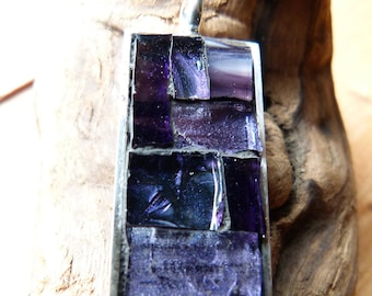 Handcrafted Stained Glass. Mosaic Pendant-Purple Rectangle
