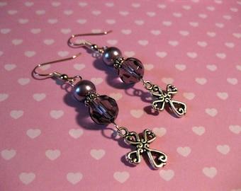 Purple Cross Glass Beaded Dangle Earrings