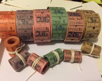 Mini rolls of Vintage london bus tickets