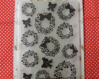 Winter Wonderland A6 Embossing Folder Christmas Wreaths  Compatible with most die cutting machines