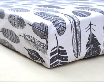 STOCK SALE-feather print premium cotton fitted crib/cot sheet -  Standard cot & Stokke Sleepi