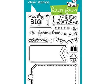 Lawn Fawn - Clear Acrylic Stamps - Birthday Tags