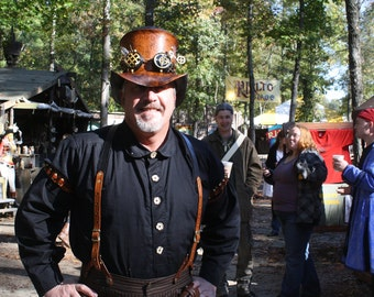 Black Button Down Men's Shirt, Victorian, Steampunk, Dustpunk, Western, Conductor, Airship, Pirate, Renaissance Festival, Ren Faire, Pirate