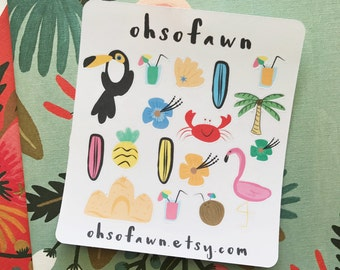 Hand Drawn Tropical Stickers