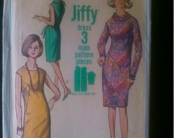 Simplicity 6437 authentic vintage printed pattern from 1966 - Jiffy dress - Miss size 14 bust 34