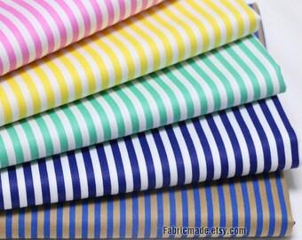 Stripe Cotton Fabric, Pink Yellow Green Navy Blue Stripes Cotton,  White Stripes Cotton Fabric- 1/2 Yard