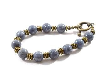 Handmade Denim Blue Gemstone Bracelet, Blue Bracelet, Denim Bracelet, Brass Bracelet, Gemstone Bracelet, Antique Brass, Beaded, B012