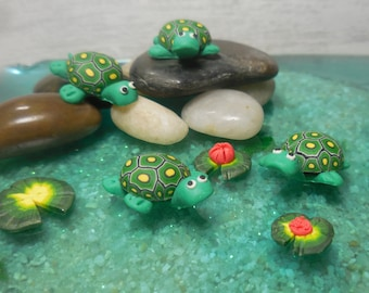 Fairy Garden Turtles w/ Lilly Pads, Miniature Turtle, Woodland Creatures, Woodland Animal Forest Friends, Miniature Lilly Pad & Pond Turtles