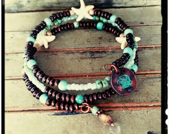 Starfish Wrap - Beaded Coil Bracelet - Turquoise//Dark Wood Beads//White Howlite Starfish//Stamped Copper Shell  Charm - Triple Layer Wrap