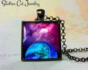 "Galaxy Nebula Pendant in Purple and Blue - 1"" Square Necklace or Key Ring - Handmade Wearable Photo Art Jewelry"