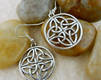 Silver Irish Celtic Knot Earrings with 4 Trinity Knots