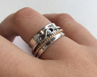 Infinity Ring, wedding band, silver gold ring, spinners ring, meditation ring, two tones ring, silver band - Rebellious spirit, R2129