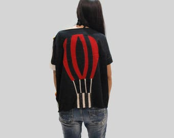 Red balloon applique top/ black cotton top/ women cotton loose top/ aerostat top with buttons/ summer fashion top/ gift for her/ women top