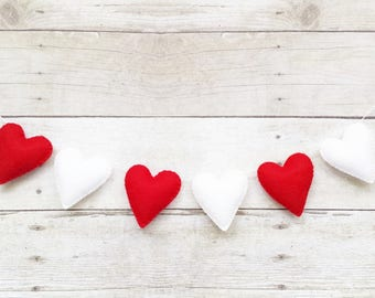Valentine Banner - Valentine Gift - Red Heart Banner - Heart Bunting - Wedding Garland - Christmas Decoration - Party Decoration - SMALL