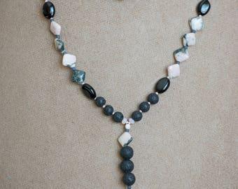 Pink Jasper Necklace, Natural Stone Necklace, Diffuser Necklace, Pink Zebra Jasper Necklace, Mala Necklace, Boho Necklace, Necklace, Jewelry