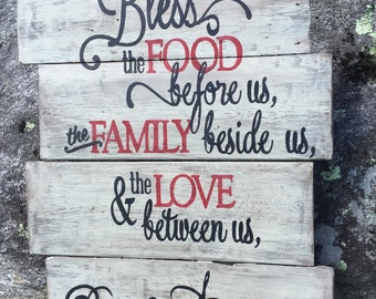 Handmade hand painted distressed wood Bless the Food pallet wood sign, family sign, kitchen sign, distressed wood