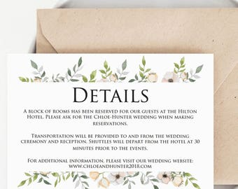 Watercolor Wedding Details Card Template Blush Wedding Enclosure Card Template Editable Printable Wedding Details Template Extra Information