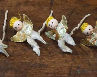 6 Vintage Spun Cotton  Pipecleaner Angels/ Gold Foil Wings/ Mid Century Christmas/ Vintage Christmas/ Retro Christmas