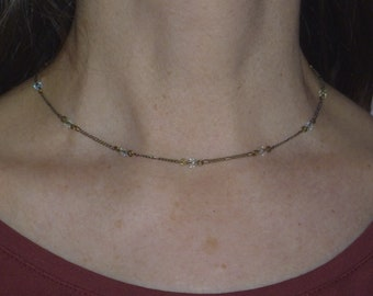 delicate gold tone chain choker necklace with small beads, vintage choker