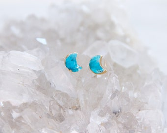 Turquoise Crescent, Moon, Gold Stud Earrings