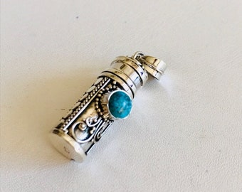 Balinese Silver Pendant-Prayer Box Pendant With Turquoise