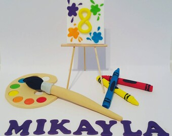 Art painting party cake topper set. Fondant handmade Birthday Party diy cake toppers