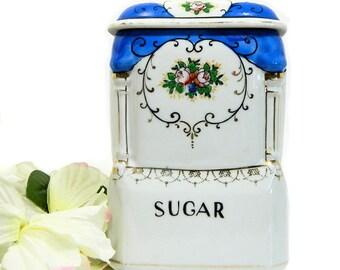 Porcelaine bleu et blanc sucre bidon Japon