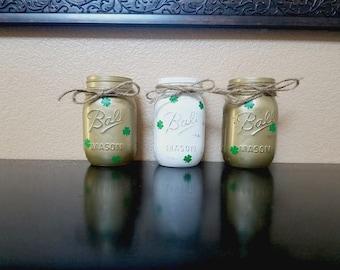 St. Patrick's Day Mason Jars - St. Patrick's Day Decor - St. Paddy's Day Decor - Mason Jars - Spring Decor - St. Paddy's Day