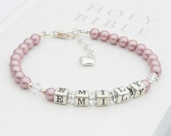 Sterling Silver and Swarovski Crystal Childrens Name Bracelet