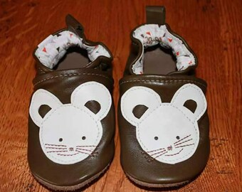 soft leather slippers mouse