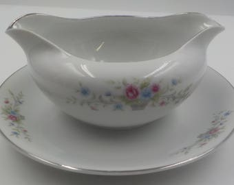 Vintage - Fine China Gravy Boat - Gravy Dish - Made in Japan - Light Blue and pink flowers with greenery