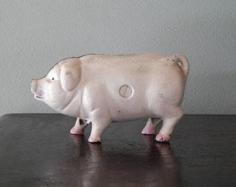 Original Antique Cast Iron Pig Coin Bank - Collectible - Gift