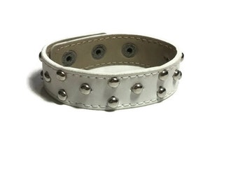 Studded White Leather Cuff - Studded Leather Bracelet Cuff - Leather Bracelet - Studded White Leather Cuff  Bracelet