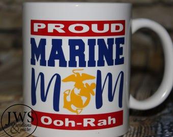 Proud Marine mom coffee cup