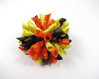 Korker Hair Bow - Brown Yellow Orange Hair Bow - Brown Hair Bow - Orange Hair Bow - Yellow Hair Bow - Small Korker Hair Clip