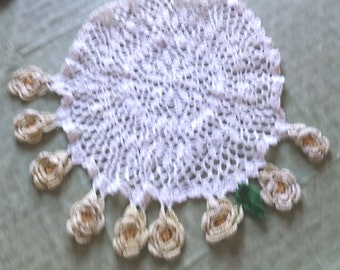 LARGE LACE DOILY with Yellow flowers