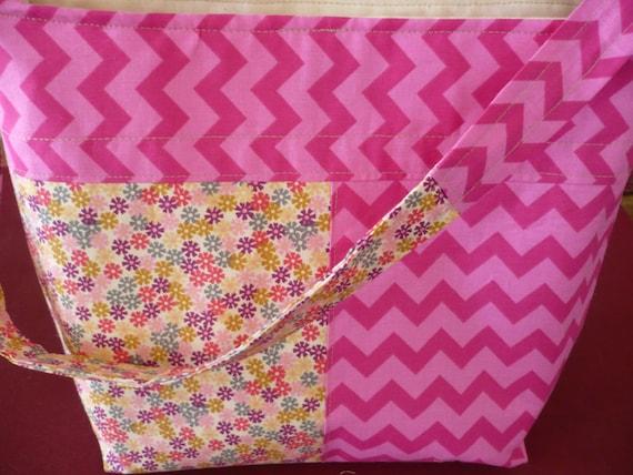 Chevron Pink & Floral Bucket-Style Purse Diaper Bag