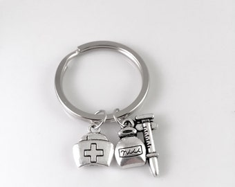 Nurse keychain, syringe keychain, nurses hat keychain, nurse graduation, nurse birthday, nurses day, nurse retirement, medical school