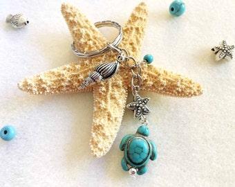SALE!!! Sea turtle keychain turquoise keychain turquoise turtle jewelry custom keychain gift for her custom gifts for mom gift for her